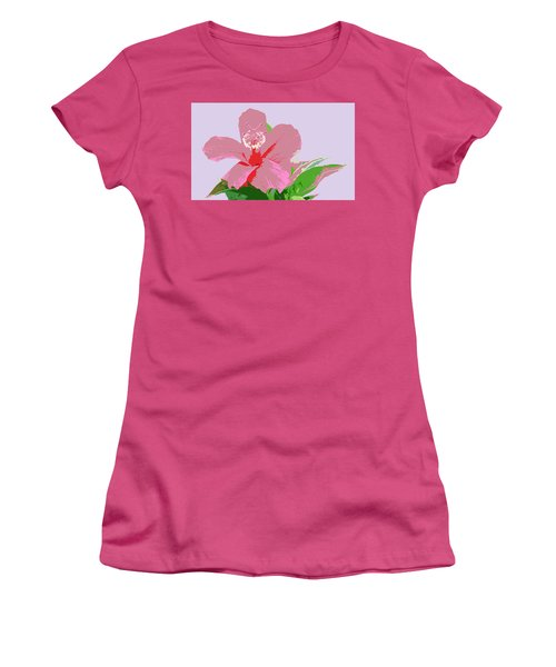 Hibiscus Flower Art Women's T-Shirt (Junior Cut) by Karen Nicholson