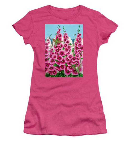 Hollyhocks And Humming Birds Women's T-Shirt (Junior Cut) by Katherine Young-Beck