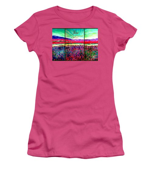 Joy Comes With The Morning Triptych  Women's T-Shirt (Junior Cut) by Kimberlee Baxter