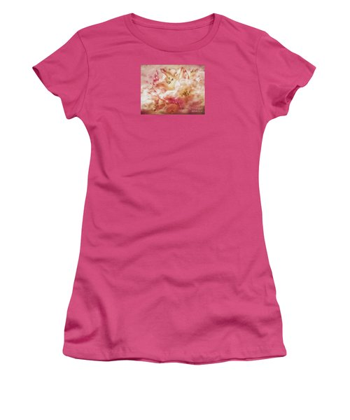 Jubilee Blush Women's T-Shirt (Junior Cut) by Jean OKeeffe Macro Abundance Art