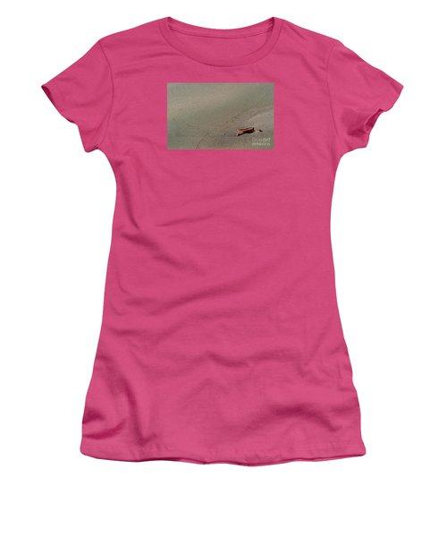Women's T-Shirt (Junior Cut) featuring the photograph Leafe On The Beach by Gary Bridger