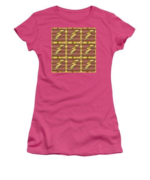 Women's T-Shirt (Junior Cut) featuring the digital art Lightning Bolt Group - Transparent by Chuck Staley