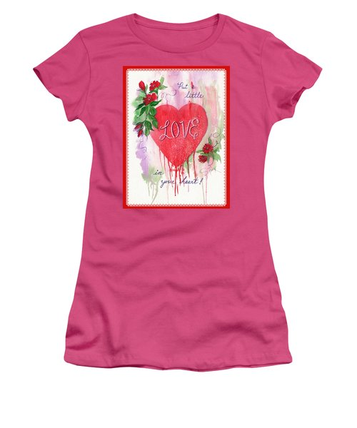 Women's T-Shirt (Junior Cut) featuring the painting Love Valentine by Marilyn Smith