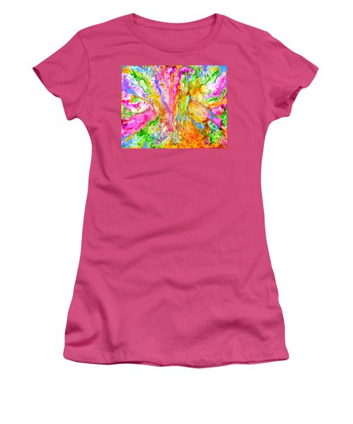 Luscious Colorful Modern Abstract With Pastel Shades Women's T-Shirt (Athletic Fit)
