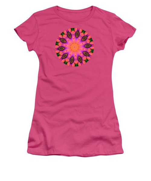 Mandala Salmon Burst - Prints With Salmon Color Background Women's T-Shirt (Junior Cut) by Hao Aiken