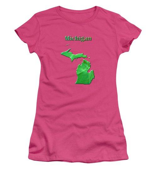 Michigan Map Women's T-Shirt (Junior Cut) by Roger Wedegis