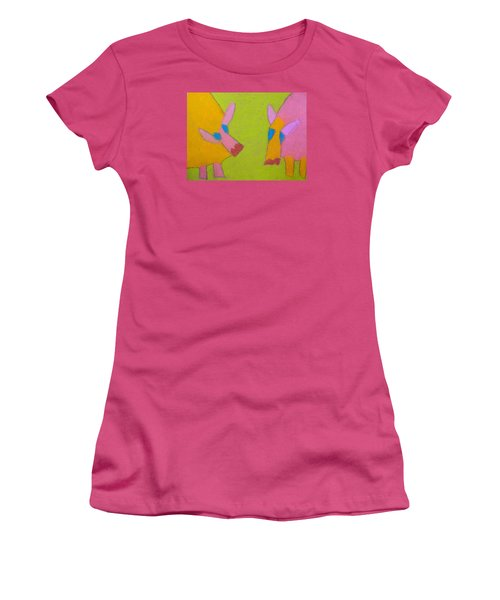 Women's T-Shirt (Junior Cut) featuring the pastel Mischievous Pigs by Artists With Autism Inc