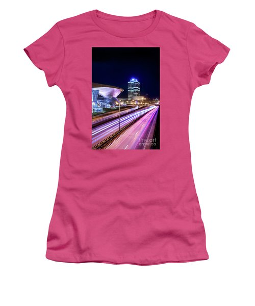 Women's T-Shirt (Junior Cut) featuring the pyrography Munich - Bmw City At Night by Hannes Cmarits