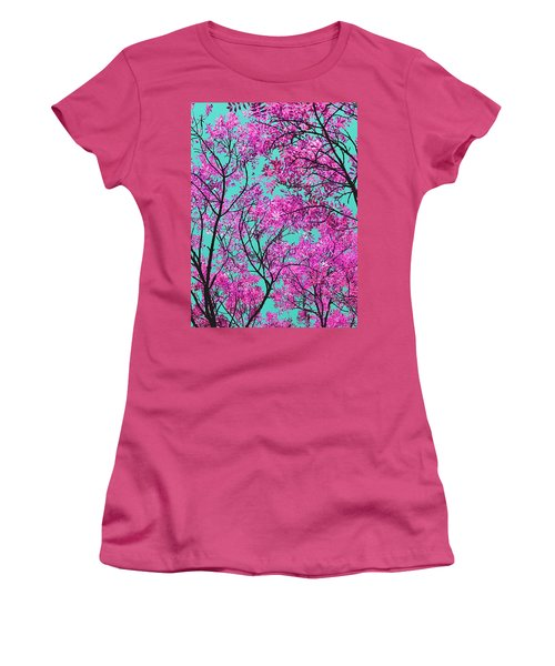 Natures Magic - Pink And Blue Women's T-Shirt (Athletic Fit)