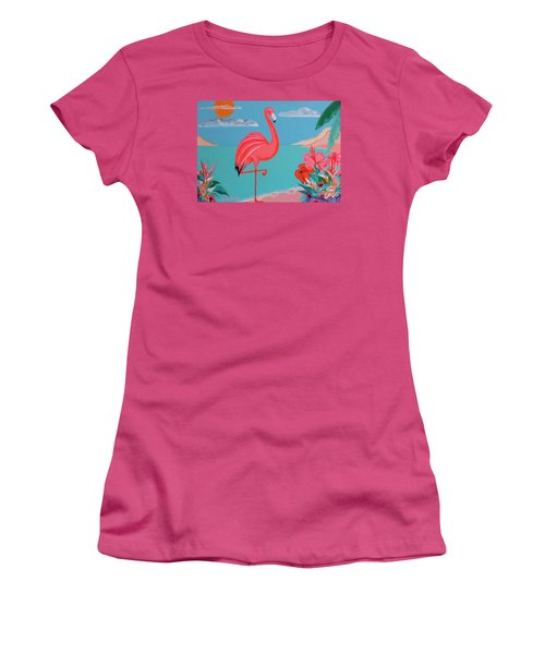 Neon Island Flamingo Women's T-Shirt (Athletic Fit)