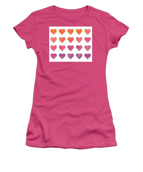 Ombre Hearts Women's T-Shirt (Junior Cut) by Whitney Morton
