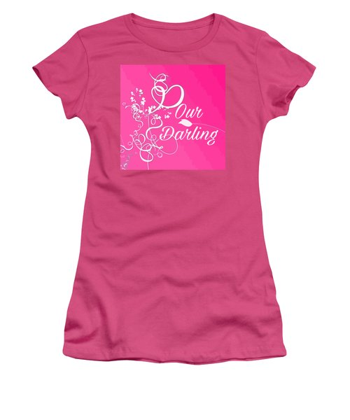 Our Darling On Pink Background Women's T-Shirt (Athletic Fit)