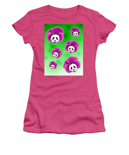 Panda Pansies Women's T-Shirt (Athletic Fit)