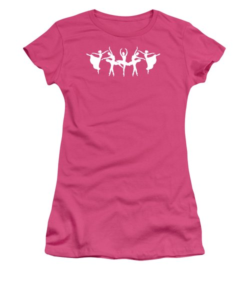 Passionate Dance Ballerinas Silhouettes In White Women's T-Shirt (Athletic Fit)