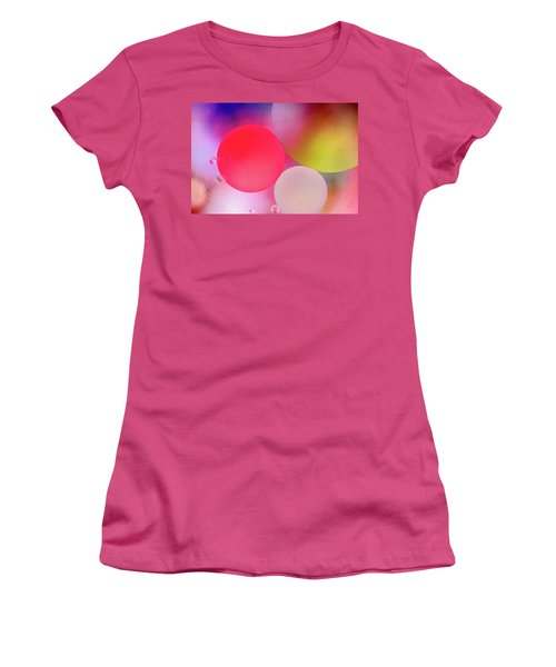 Women's T-Shirt (Athletic Fit) featuring the photograph Pastel Oil Bubble Water Drops by John Williams