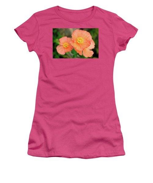 Peach Poppies Women's T-Shirt (Junior Cut) by Sally Weigand