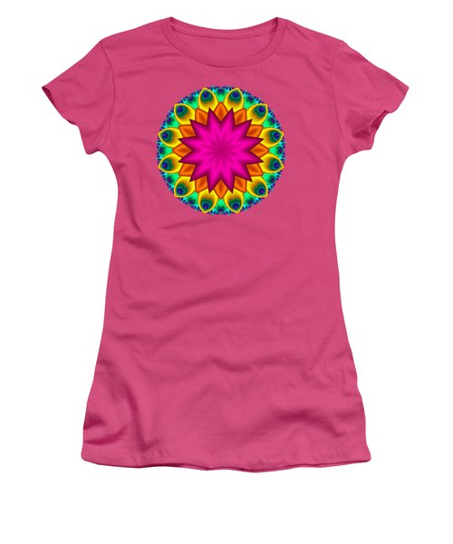 Peacock Fractal Flower I Women's T-Shirt (Athletic Fit)