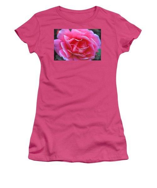 Women's T-Shirt (Junior Cut) featuring the photograph Peggy Lee Rose Bridal Pink by David Zanzinger
