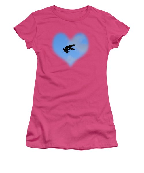 Pigeons Shadow T-shirt Women's T-Shirt (Junior Cut) by Isam Awad