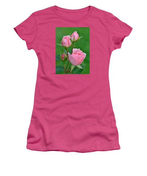 Pink And The Buds Women's T-Shirt (Junior Cut) by Janet Rockburn