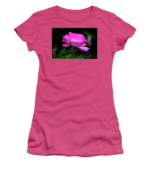 Women's T-Shirt (Junior Cut) featuring the photograph Pink And White Rose 005 by George Bostian