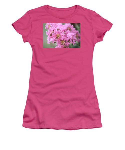 Women's T-Shirt (Athletic Fit) featuring the photograph Pink Crepe Myrtle Close-up by Sheila Brown