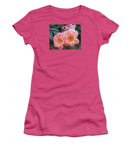 Pink Duo Peony Women's T-Shirt (Athletic Fit)