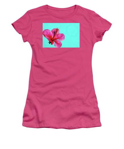 Pink Flower In Water Women's T-Shirt (Athletic Fit)