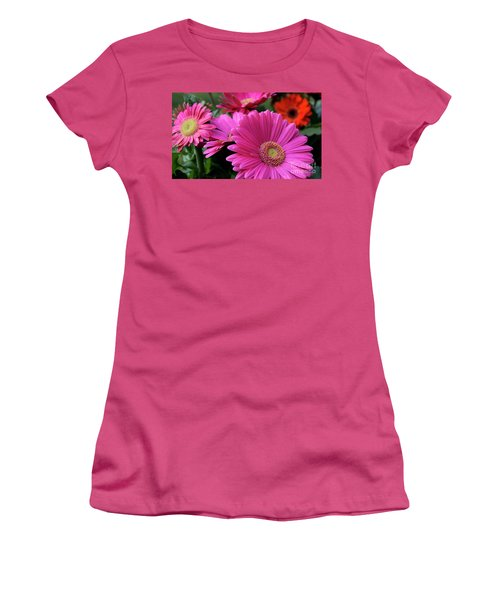 Pink Flowers Women's T-Shirt (Athletic Fit)