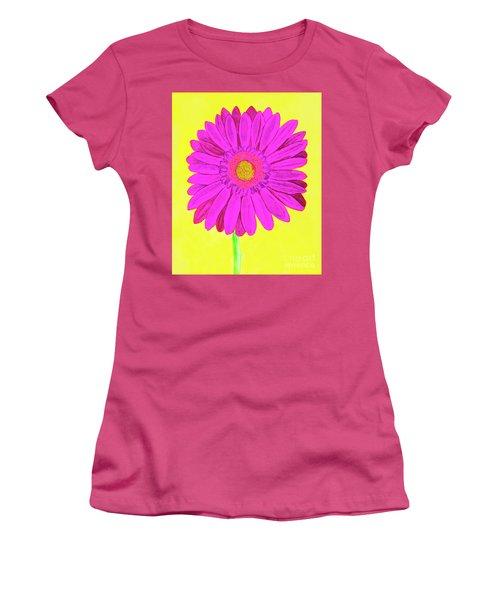 Pink Gerbera On Yellow, Watercolor Women's T-Shirt (Junior Cut) by Irina Afonskaya