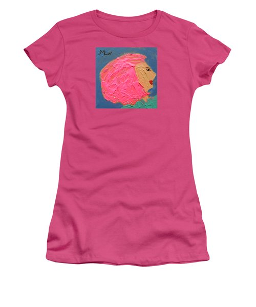 Women's T-Shirt (Junior Cut) featuring the painting Pink  Hair by Mary Carol Williams