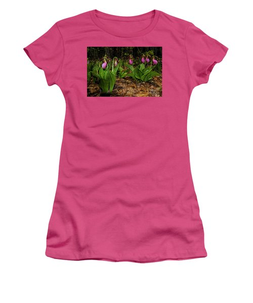 Pink Ladies Slipper Patch Women's T-Shirt (Junior Cut) by Barbara Bowen