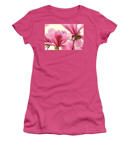 Pink Magnolias Women's T-Shirt (Junior Cut) by Peggy Collins