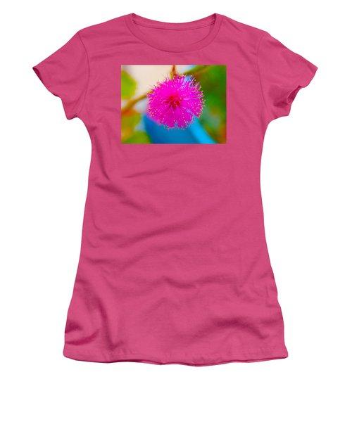 Pink Puff Flower Women's T-Shirt (Junior Cut) by Samantha Thome