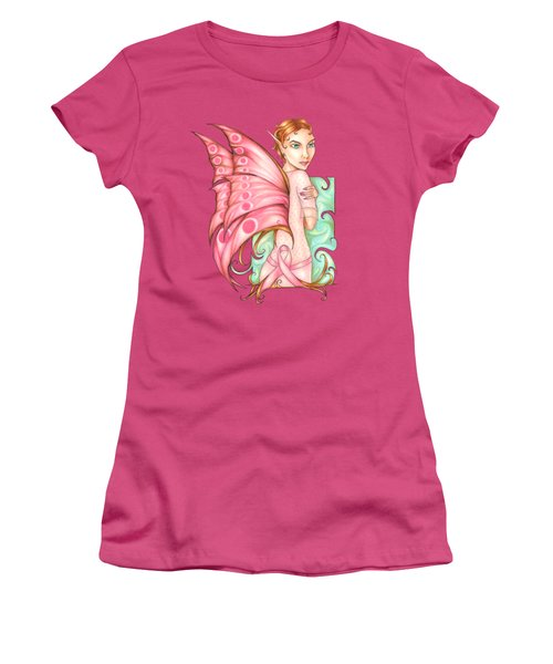 Pink Ribbon Fairy For Breast Cancer Awareness Women's T-Shirt (Athletic Fit)
