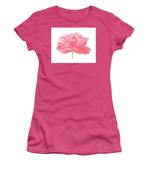 Women's T-Shirt (Junior Cut) featuring the painting Pink Rose by Elizabeth Lock