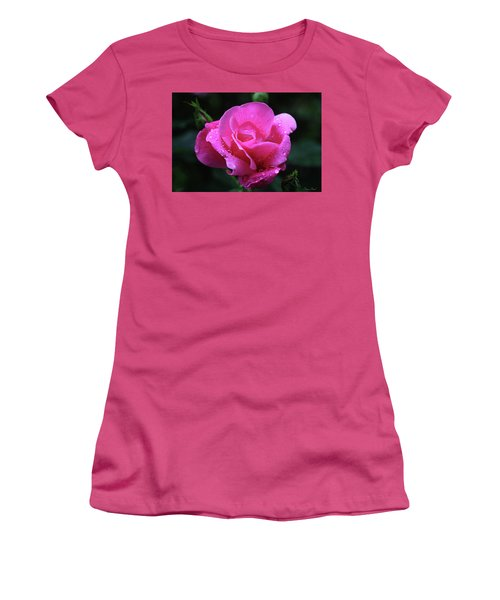 Pink Rose With Raindrops Women's T-Shirt (Athletic Fit)