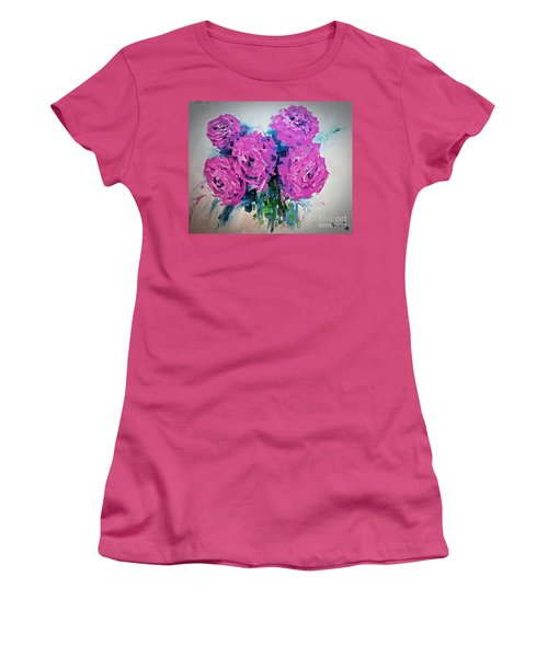 Pink Roses Women's T-Shirt (Athletic Fit)