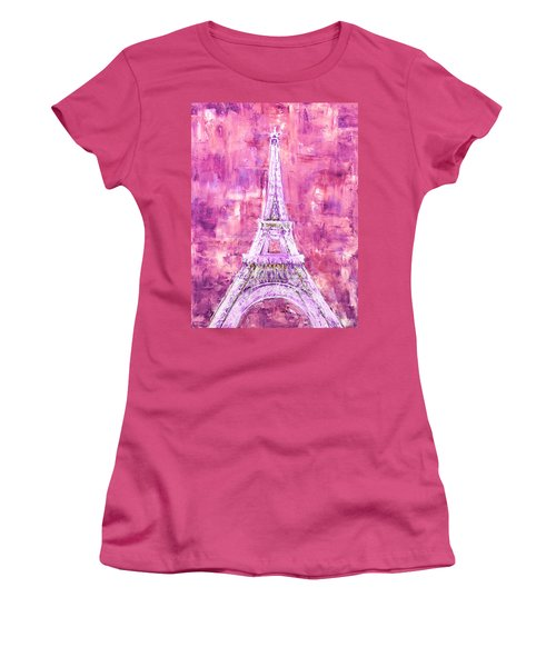 Women's T-Shirt (Athletic Fit) featuring the painting Pink Tower by Elizabeth Lock