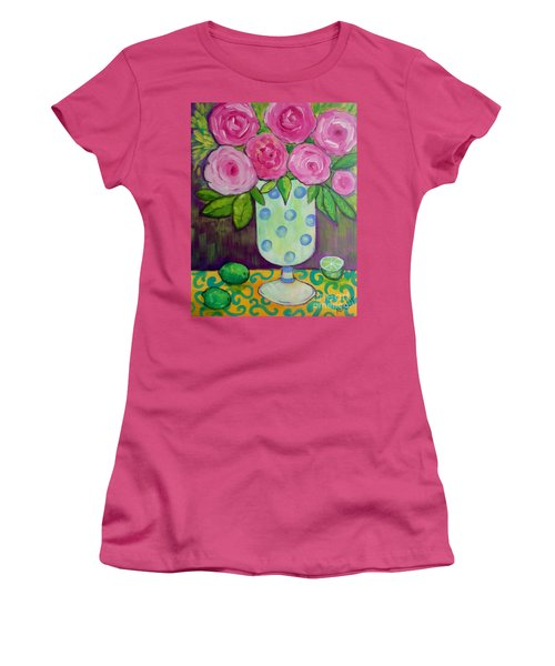 Women's T-Shirt (Junior Cut) featuring the painting Polka-dot Vase by Rosemary Aubut