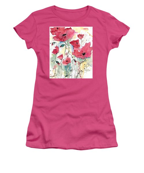 Women's T-Shirt (Junior Cut) featuring the painting Poppies 10 by Ismeta Gruenwald