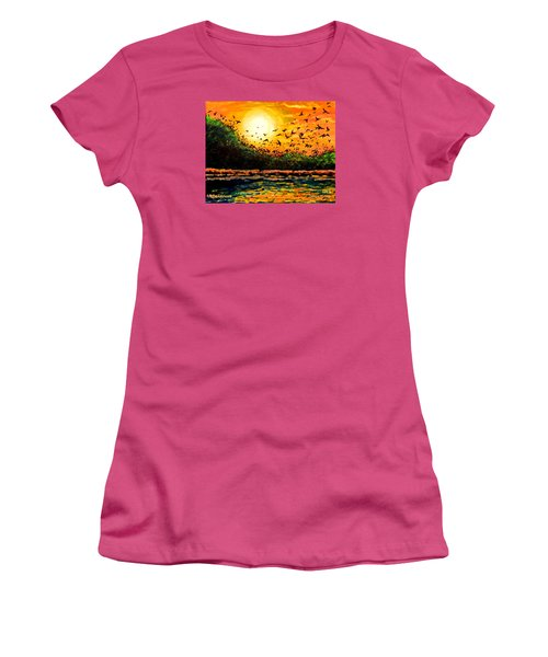 Women's T-Shirt (Junior Cut) featuring the painting Purple Martin Migration by Patricia L Davidson
