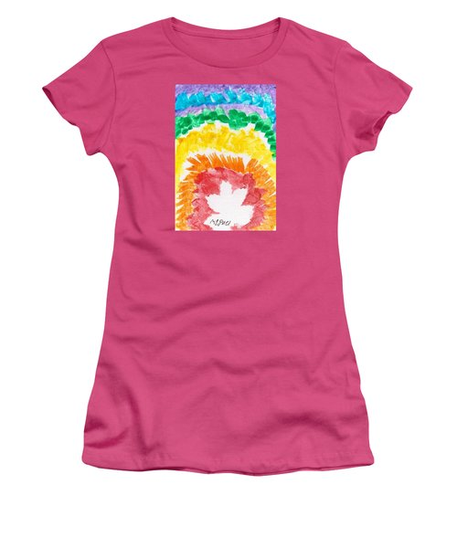 Women's T-Shirt (Junior Cut) featuring the painting Rainbow Leaf by Artists With Autism Inc