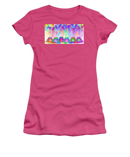Women's T-Shirt (Junior Cut) featuring the painting Rainbow Of Painted Frogs by Nick Gustafson