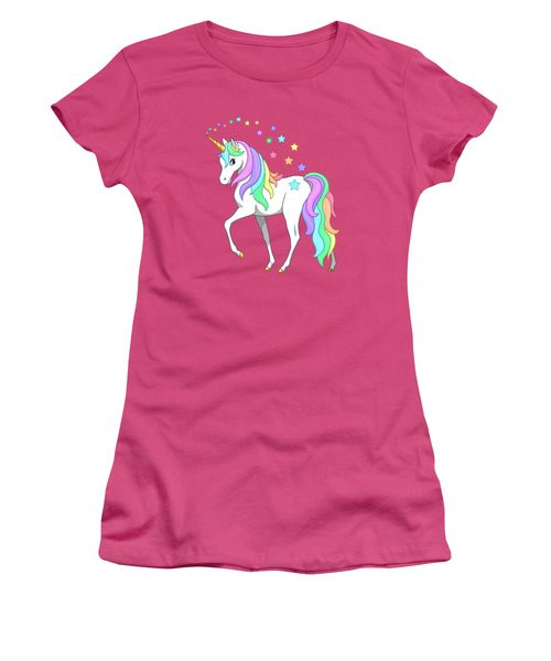 Rainbow Unicorn Clouds And Stars Women's T-Shirt (Junior Cut) by Crista Forest