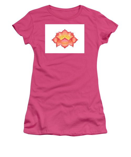 Women's T-Shirt (Athletic Fit) featuring the painting Red Lotus by Elizabeth Lock