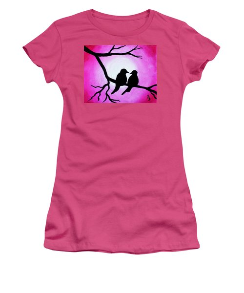 Women's T-Shirt (Athletic Fit) featuring the painting Red Love Birds Silhouette by Bob Baker
