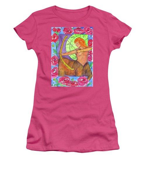 Women's T-Shirt (Junior Cut) featuring the painting Sagittarius by Cathie Richardson