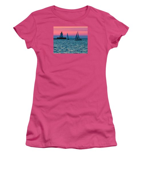 Sailing At The Cleveland Lighthouse  Women's T-Shirt (Athletic Fit)