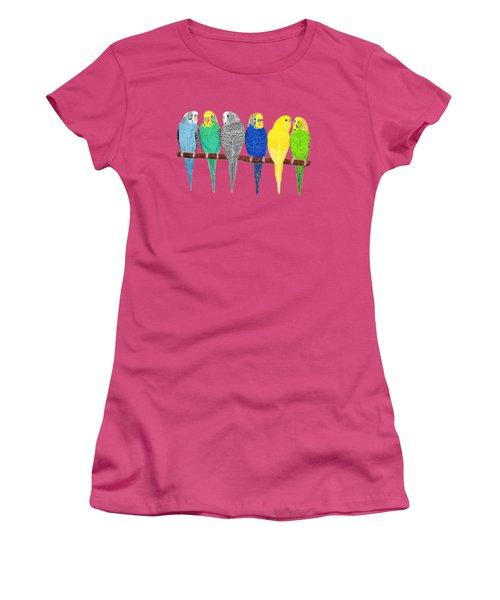 Six Parakeets Women's T-Shirt (Junior Cut) by Rita Palmer